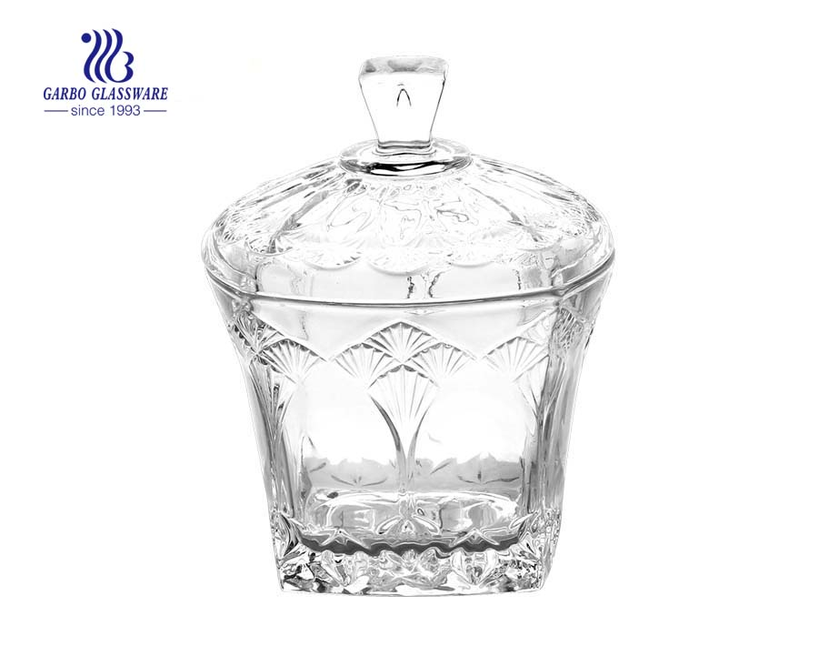 Square Shape Glass Candy Jar