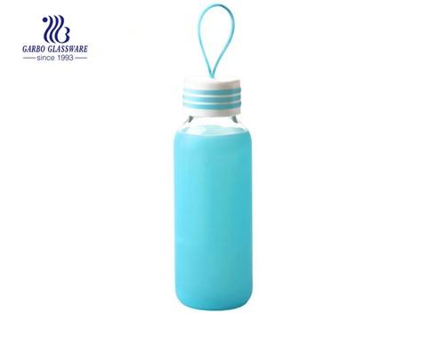 Frasco de vidro transparente de 300 ml com estojo de borracha de silicone
