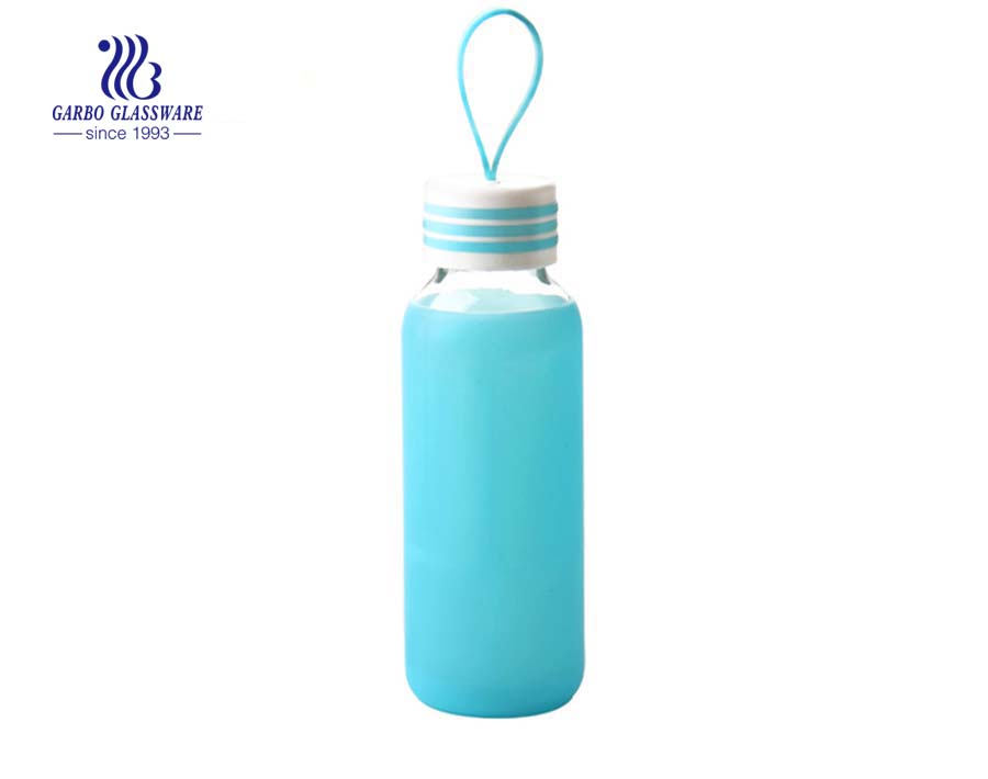 300ml Transparent glass bottle with silicon rubber case