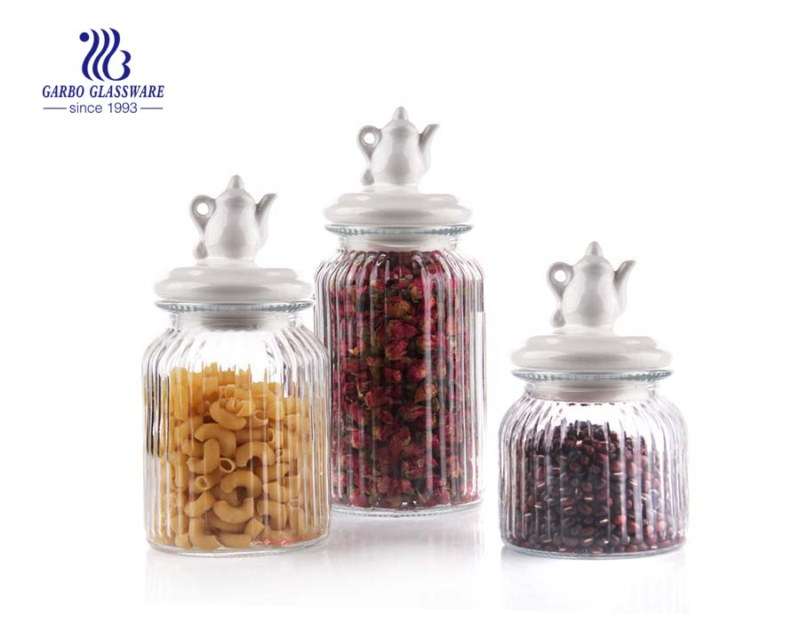 1000ml glass kitchen storage jars  3 pcs set