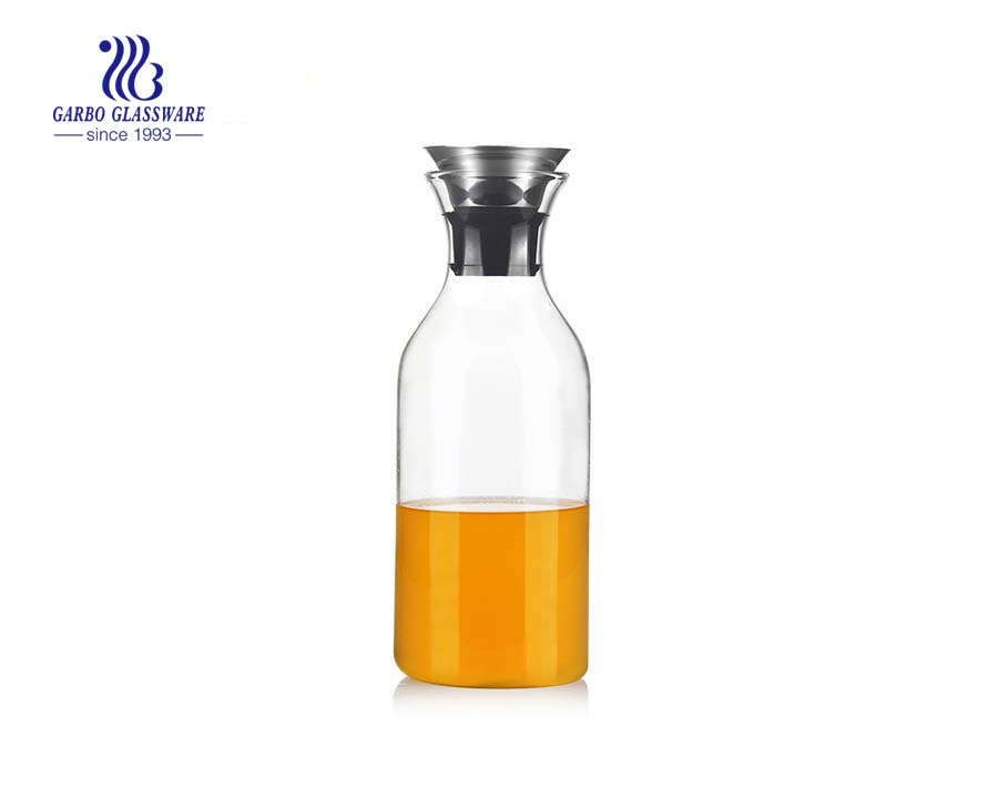 900ml Stainless steel lid hand blown pyrex glass water carafe for wholesale