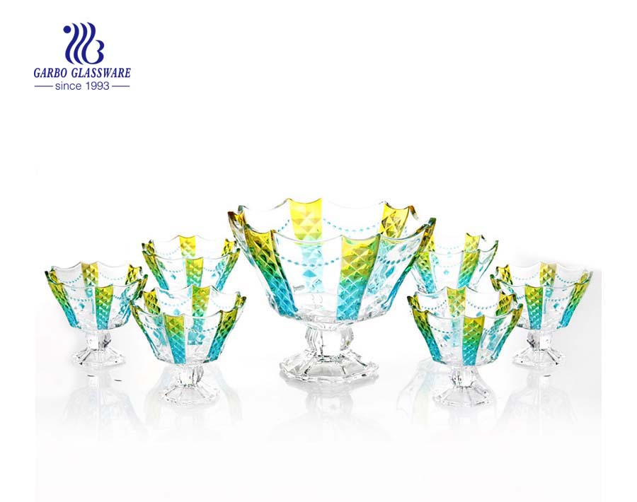 Beautiful necklace design 7 pcs footed glass bowl set with color