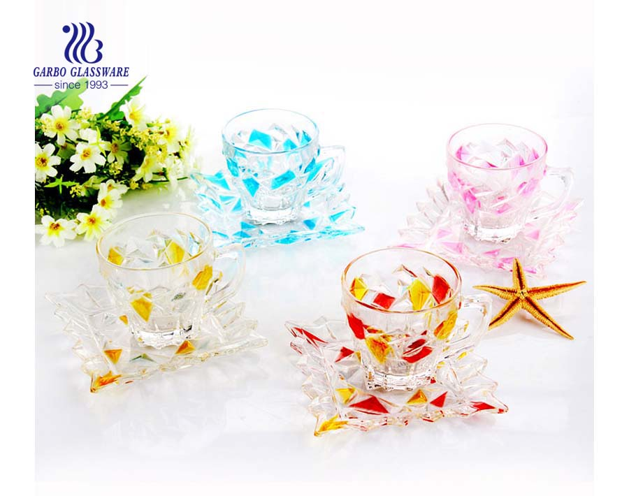 Colored 180ml glass cup and saucer set