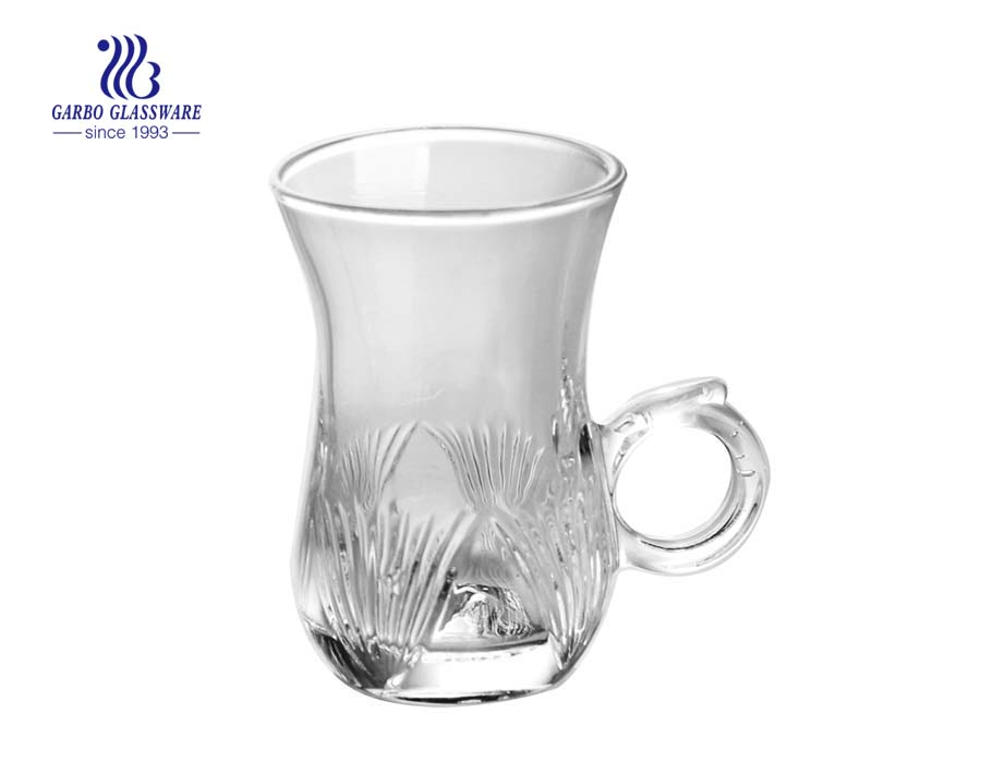 turkish glass tea cup with handle