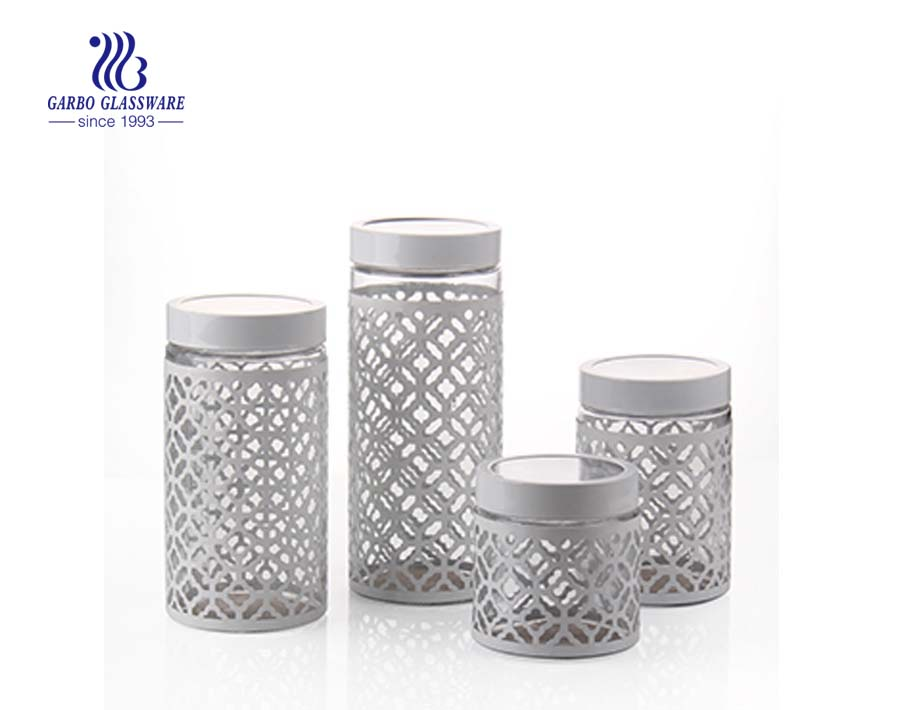 white coating glass food storage containers with airtight lids