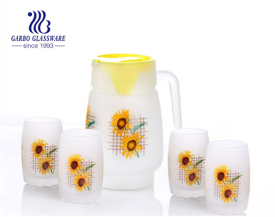 7pcs Frosted glass drinking set with pinting