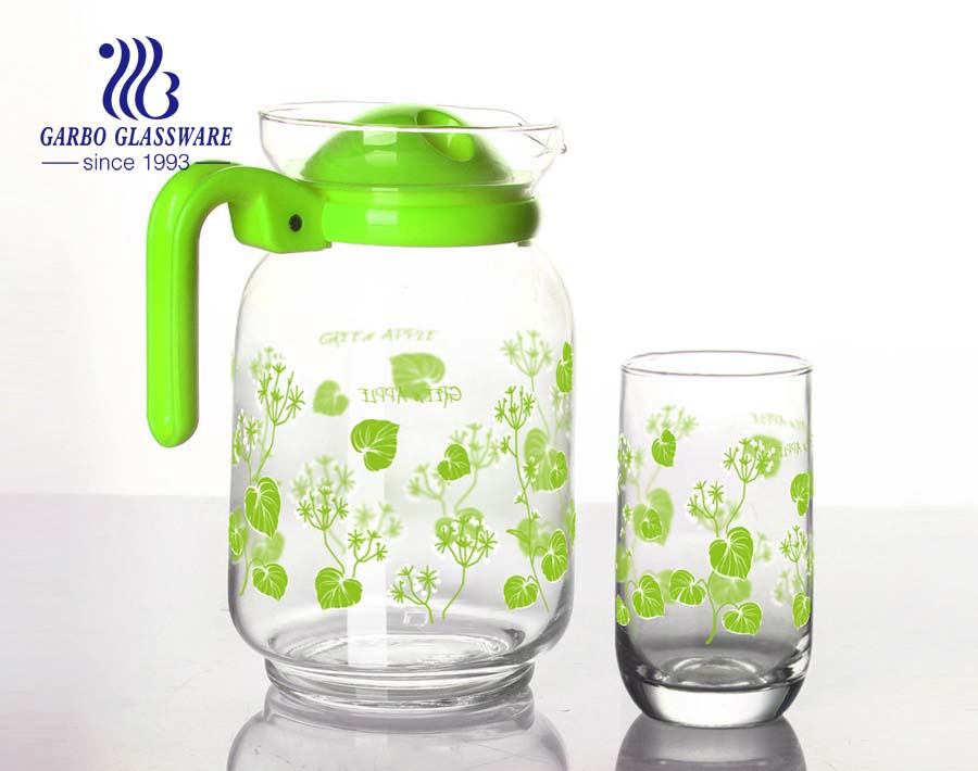 custom printing glass drinking pitcher set with 6pcs glass cup