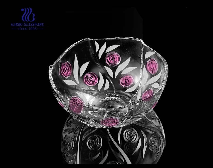 8.5'' Glass Rose bowl with partial spray color