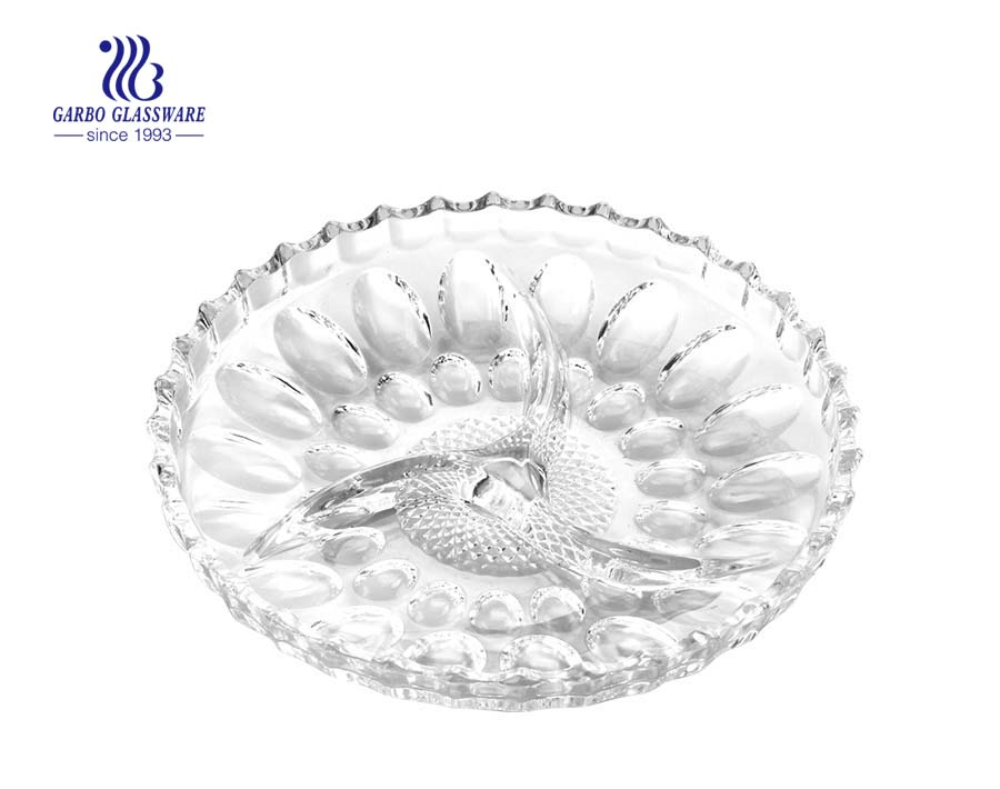9 INCH glass dessert plates with fancy flowers printing