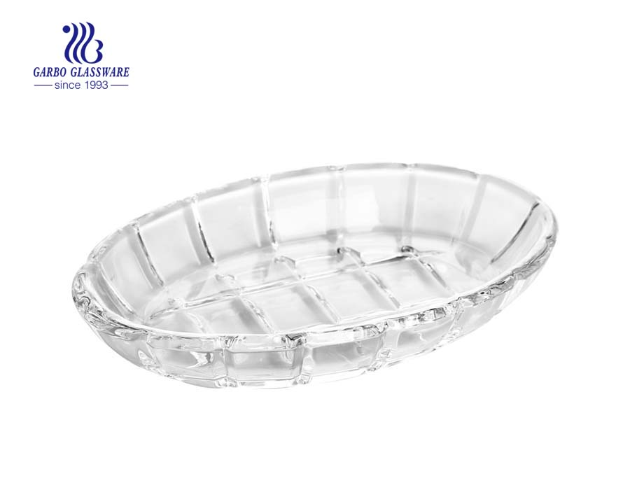 Oval shape 6.5-inch clear glass party plates salad plates wholesale