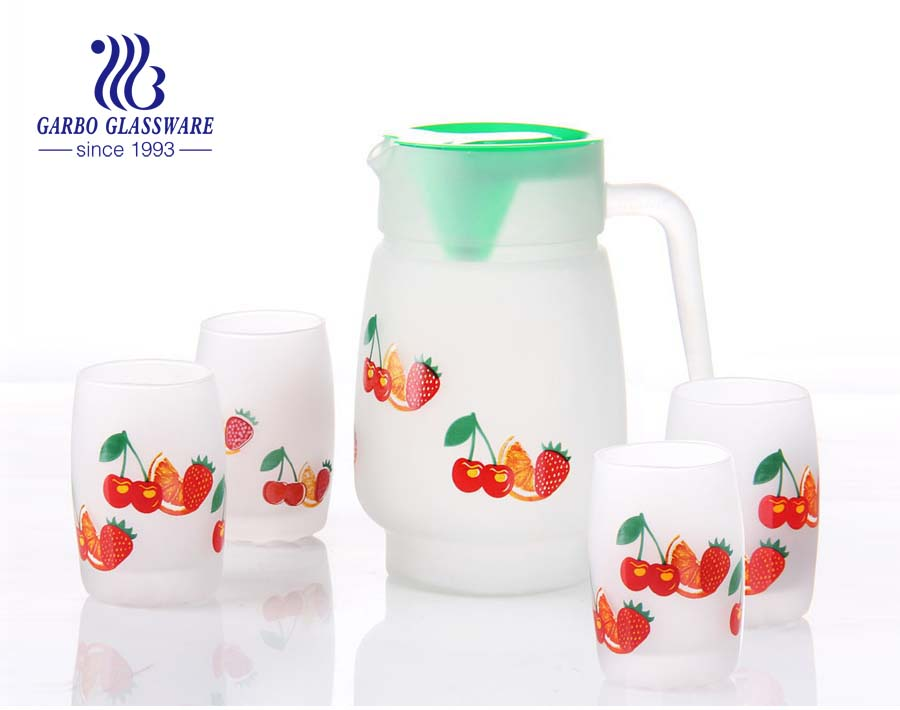 1.4L glass jug and 6pcs glass cup drinking set with fruit printing
