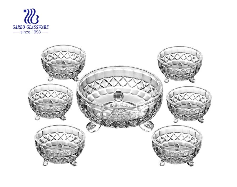 Lunar design 7 pcs glass bowl set for ice-cream nuts fruits