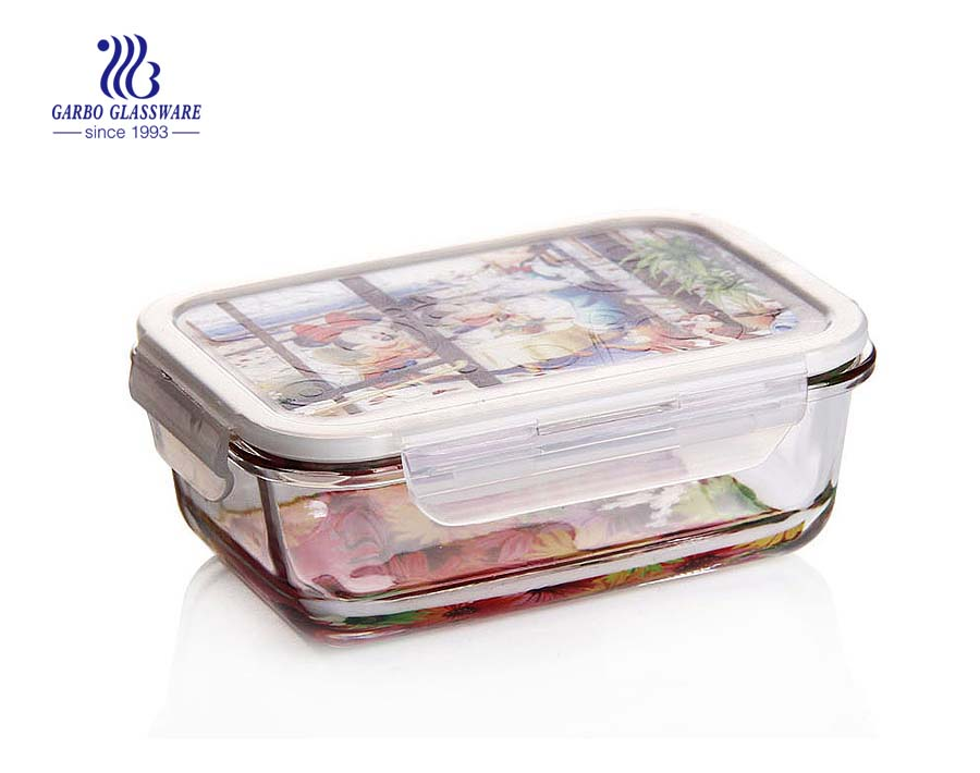 Pyrex 860ml glass food lunchbox with custom lid