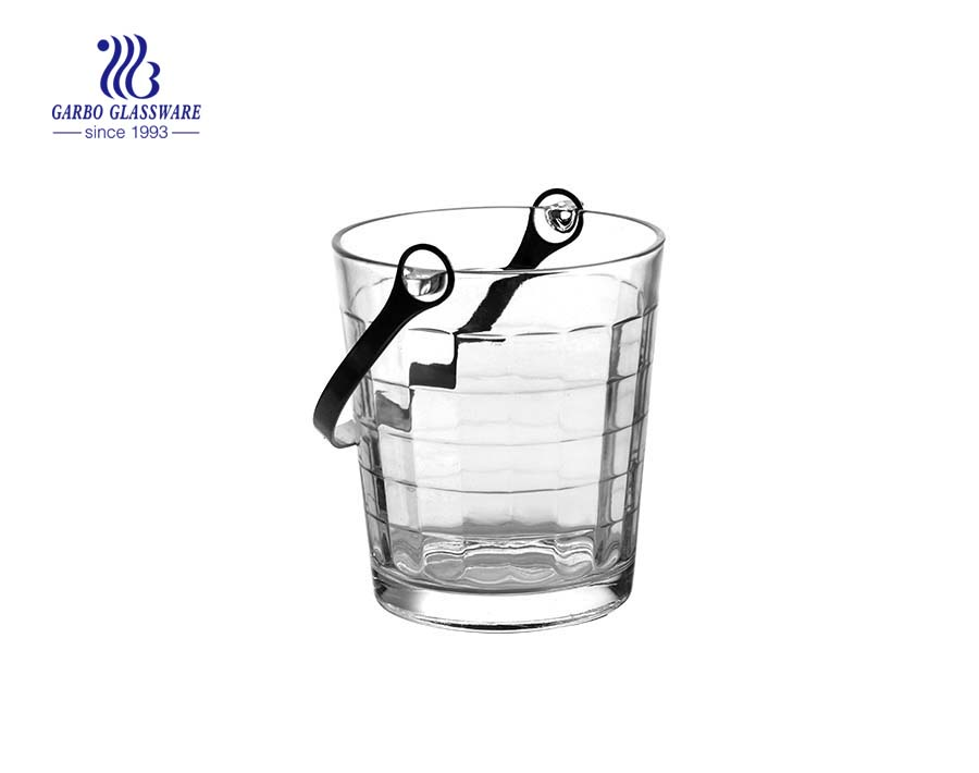 low price glass ice bucket with tong