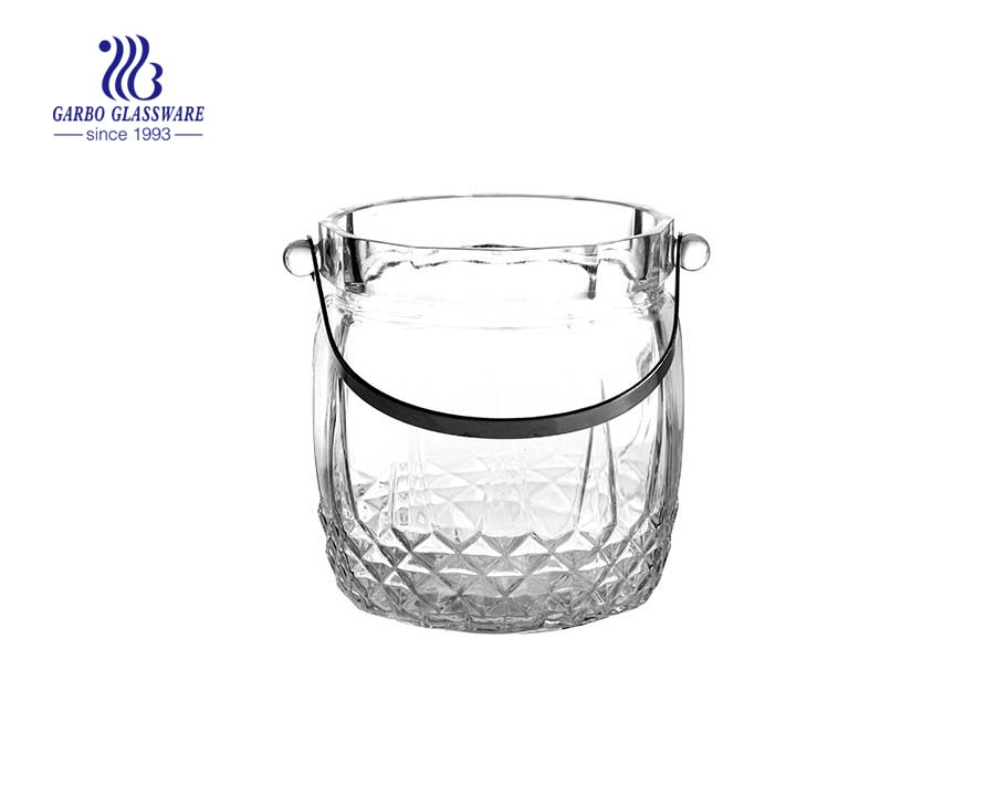 Customized 1000ml cut glass ice bucket