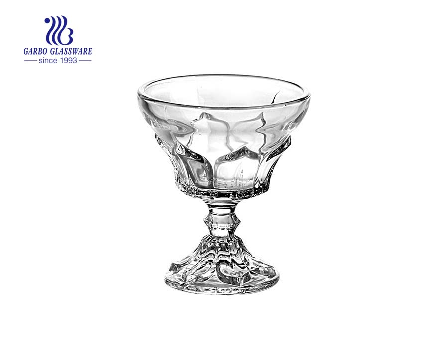 China customized glass ice cream cup with stem