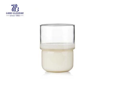 Vaso de vidrio de pared simple para bebida fría y caliente resistente al calor de 11 oz