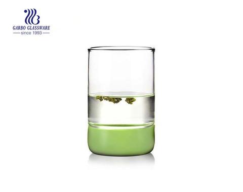 Recién llegado horno seguro base de silicona pyrex vaso de agua de vidrio de pared simple 15 oz