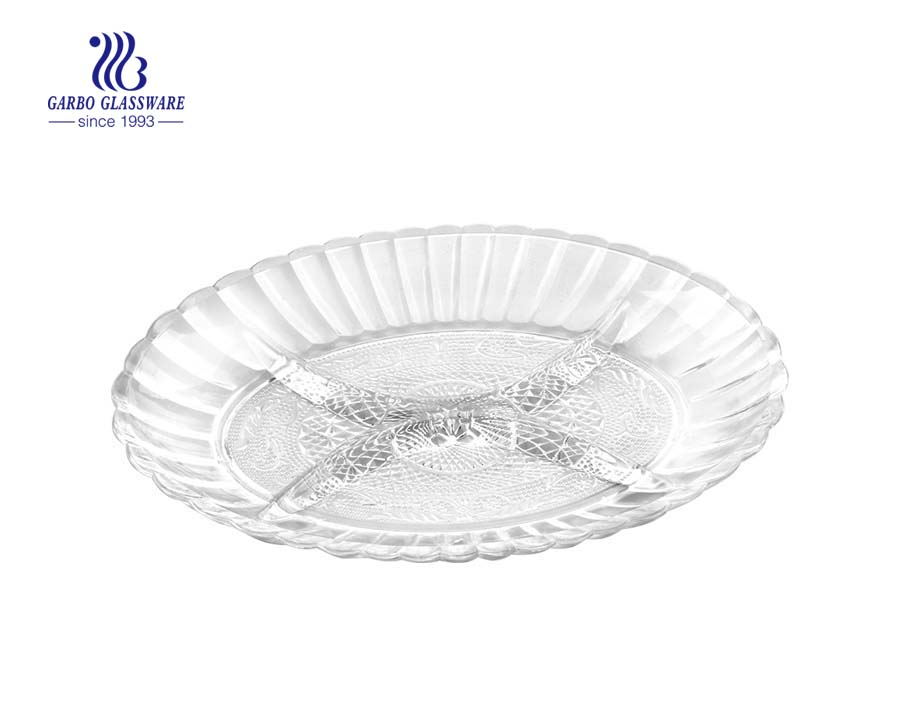 round shape 12-inch glass dessert plates inexpensive price