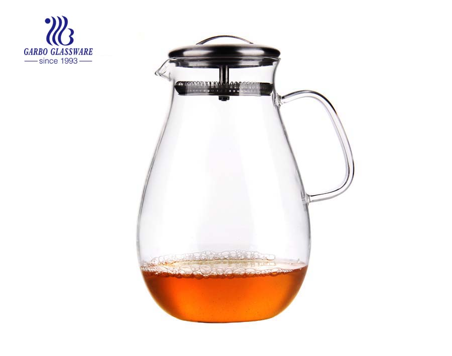 Heat resistant pyrex glassware big capacity pyrex glass water pot 1.6L