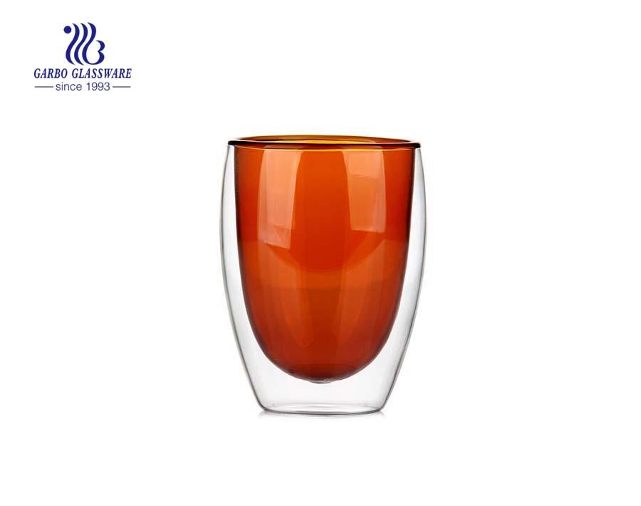 9oz Blue einfarbige doppelwandige Glasschale zum Trinken