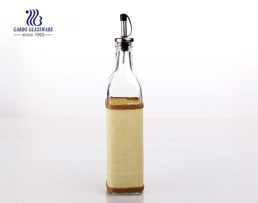 420ml Clear glass oil bottle with cover