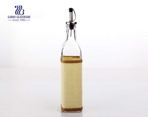 Botella de aceite de vidrio transparente de 420 ml con tapa