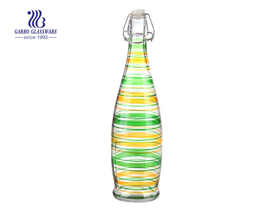 1L High quality machine made spray color glass bottle