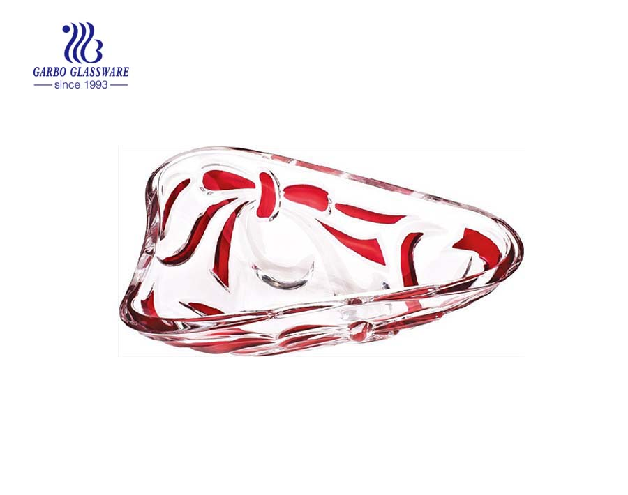 Glass Fruit Bowl with Sprayed Bowknot Design