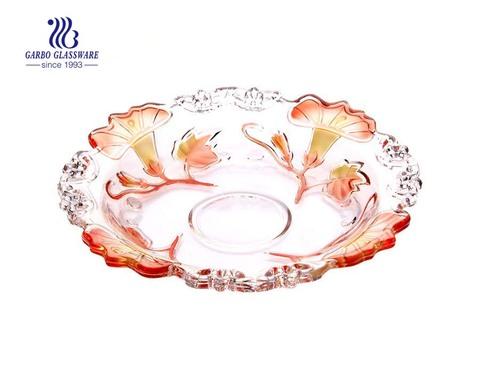 Prato de frutas de vidro com desenho de flores pulverizadas