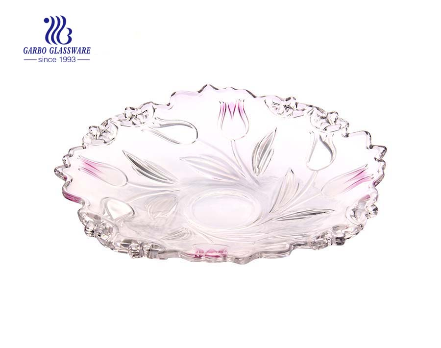 Glass Fruit Plate with Sprayed Flower design