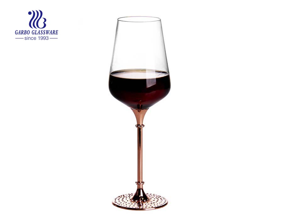 Wedding 500ml long metal stem red wine glasses