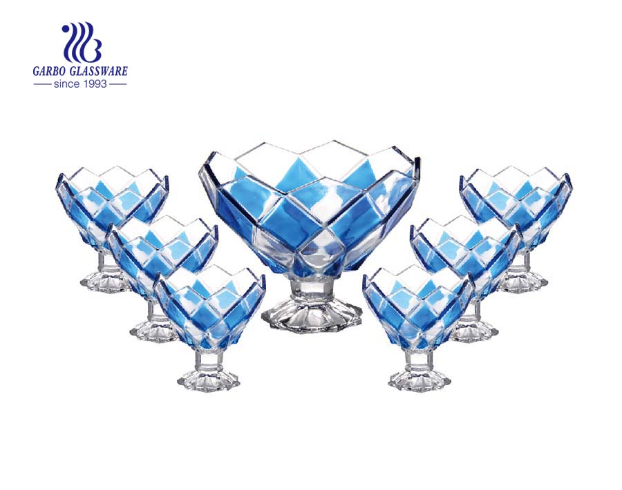 Spray color rhombus design 7 pcs footed glass bowl set wholesale glass bowls