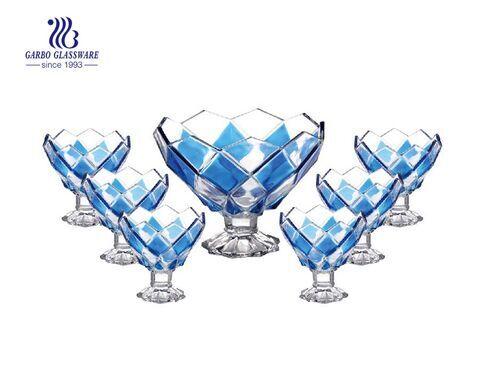Sprühfarbe Raute Design 7 Stk. Fuß Glasschale Set Großhandel Glasschalen