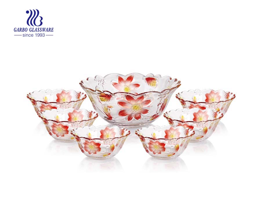 Vivid multi-colored engraved flower design 7pcs glass salad bowl set