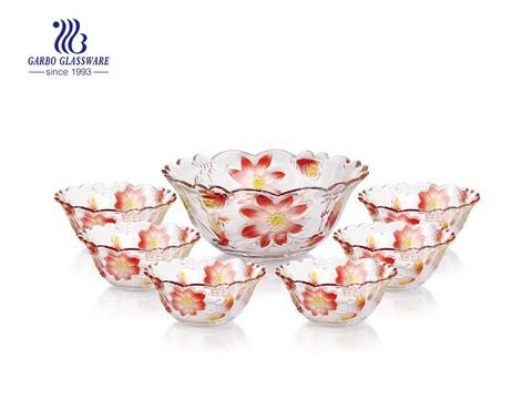 Vívido multi-colorido gravado flor design 7pcs conjunto de tigela de salada de vidro