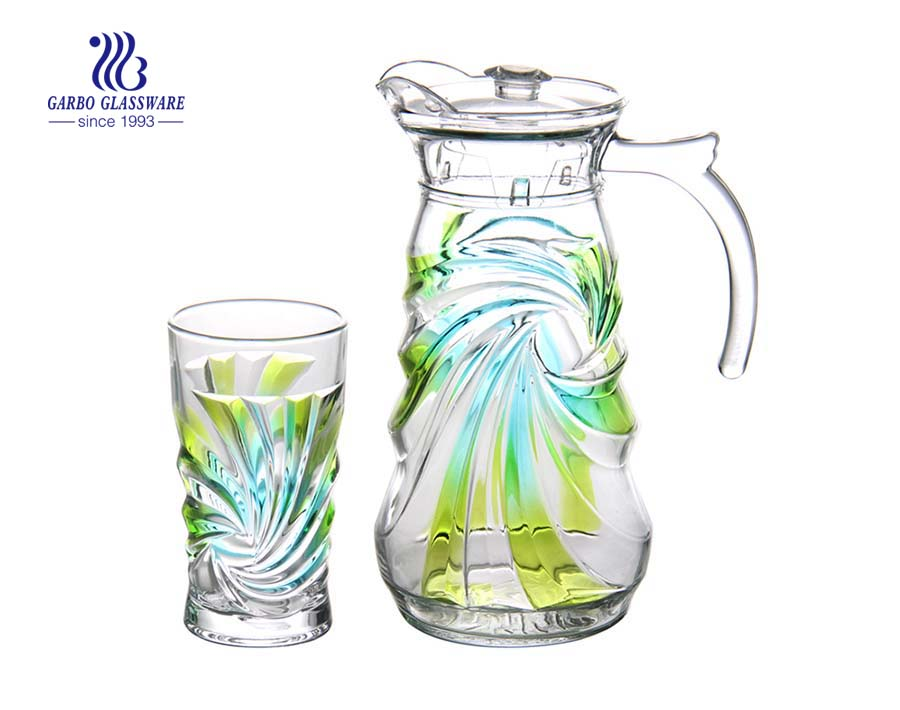 Uruguay glassware Hot sale multi color 7pcs glass water drinking set for home
