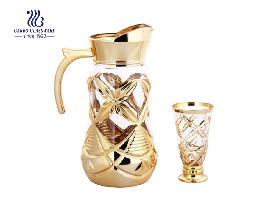 Decorative gold plating 7pcs glass water drinking set