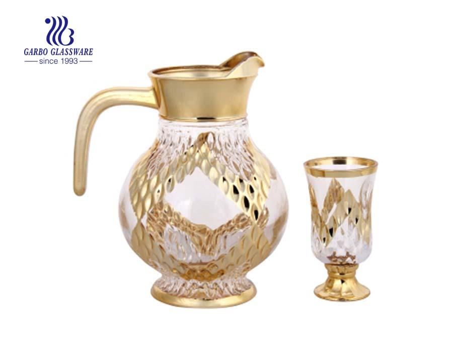 Decorative gold plating 7pcs glass water drinking set
