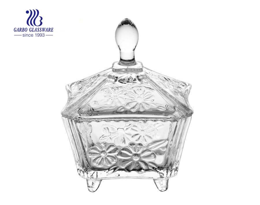 Daisy Engraved Glass Candy Pot Großhandel Kerzenglaswaren