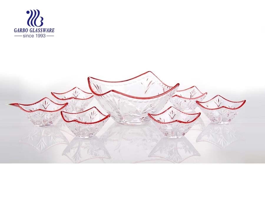 Hot sale square shape 7pcs serving glass fruit bowl set