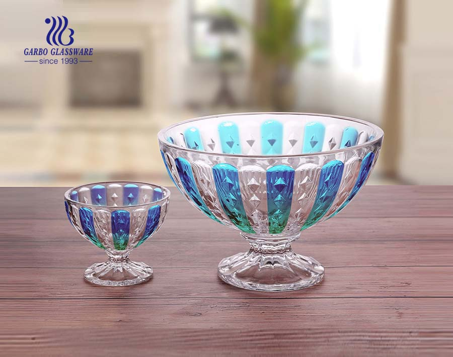 Decorative colorful 7PCS glass fruit bowl set for ice cream