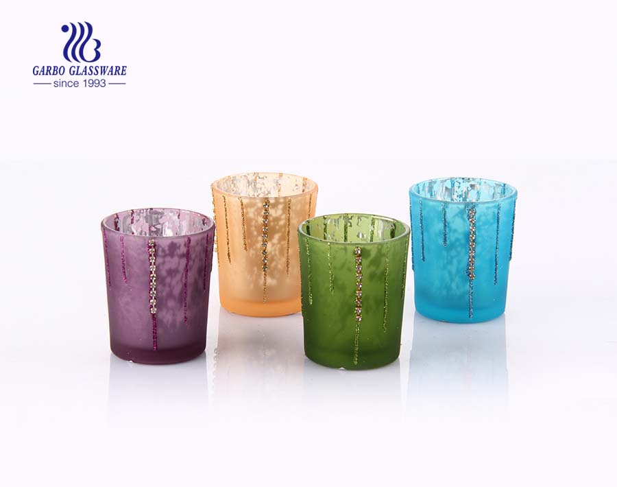 E-planted glass candle holders