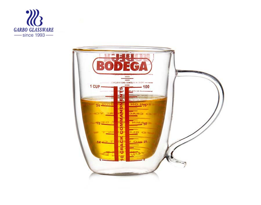 Big capacity heat resistant double wall glass cup with measuring line