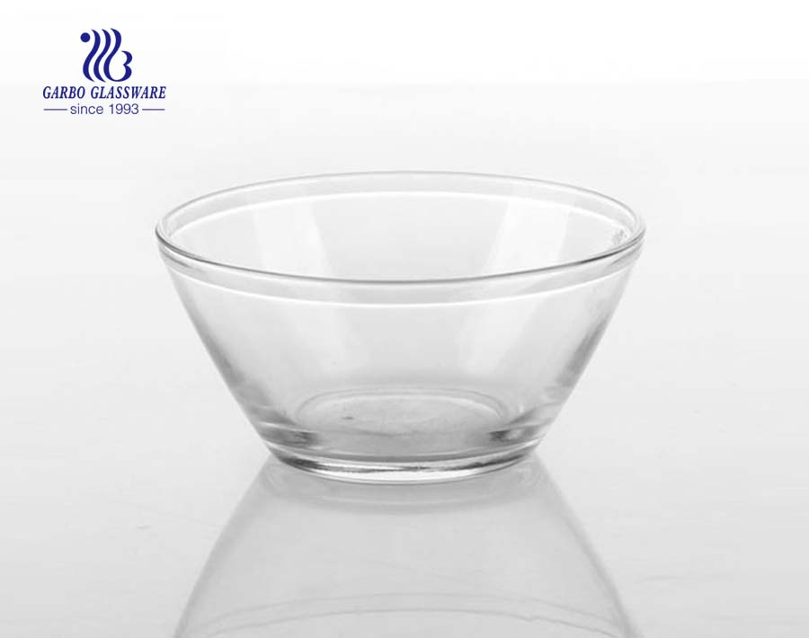 5.5 inch V shape glass salad bowl fancy customized printing