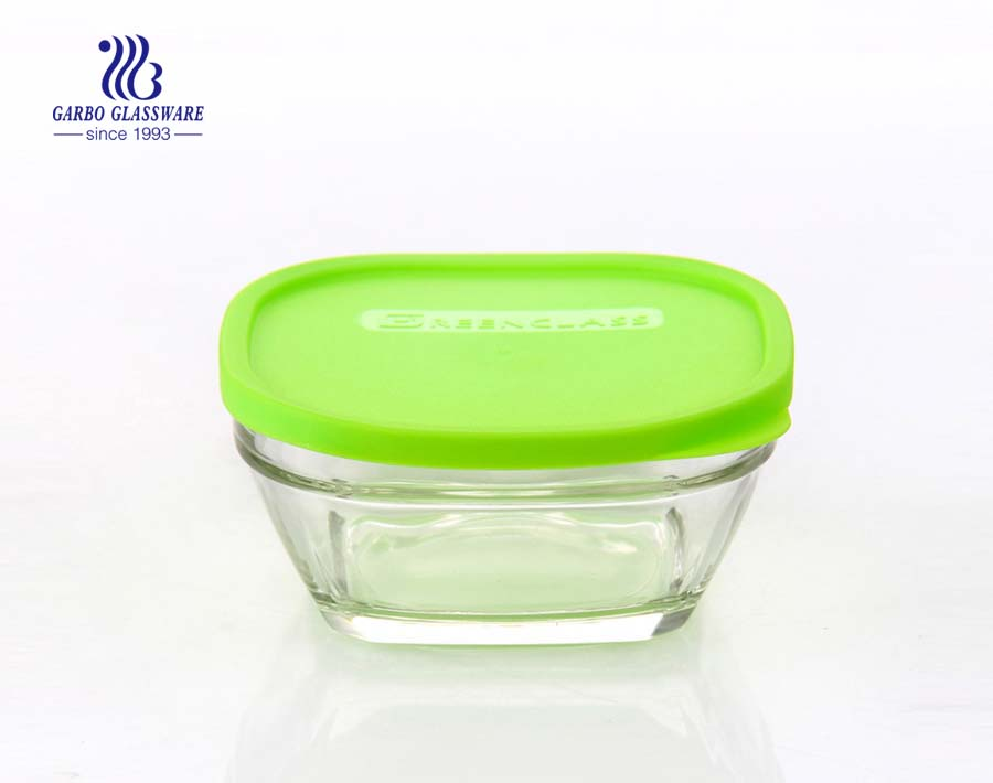 Clear 300ml square glass lunch box