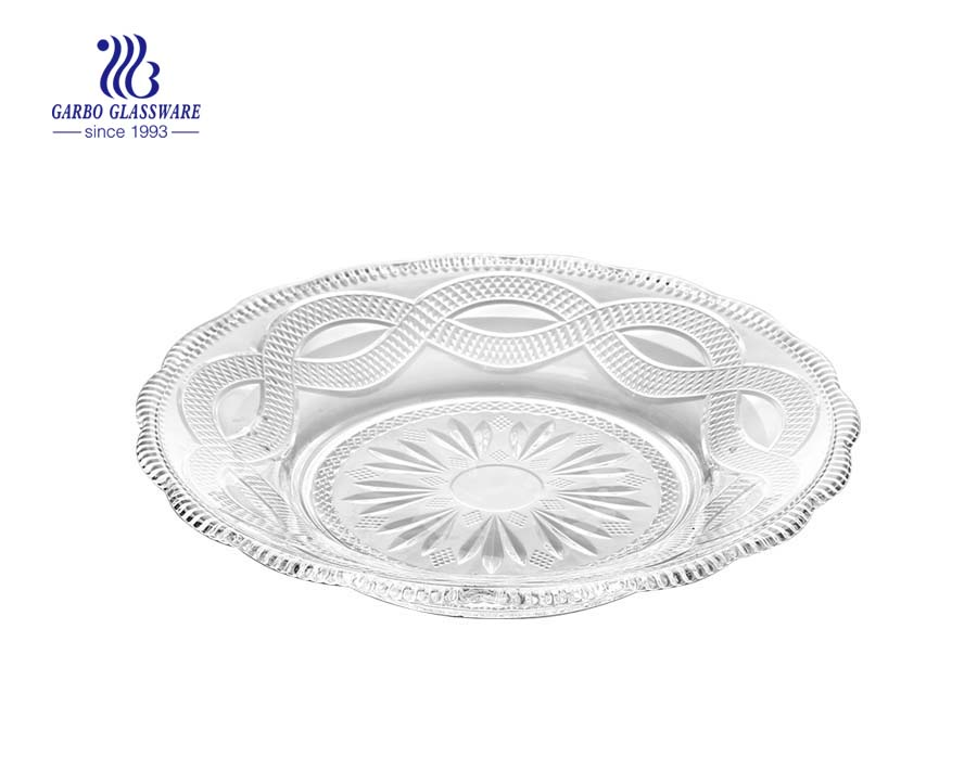 12 inch popular engraved modern design round glass plates