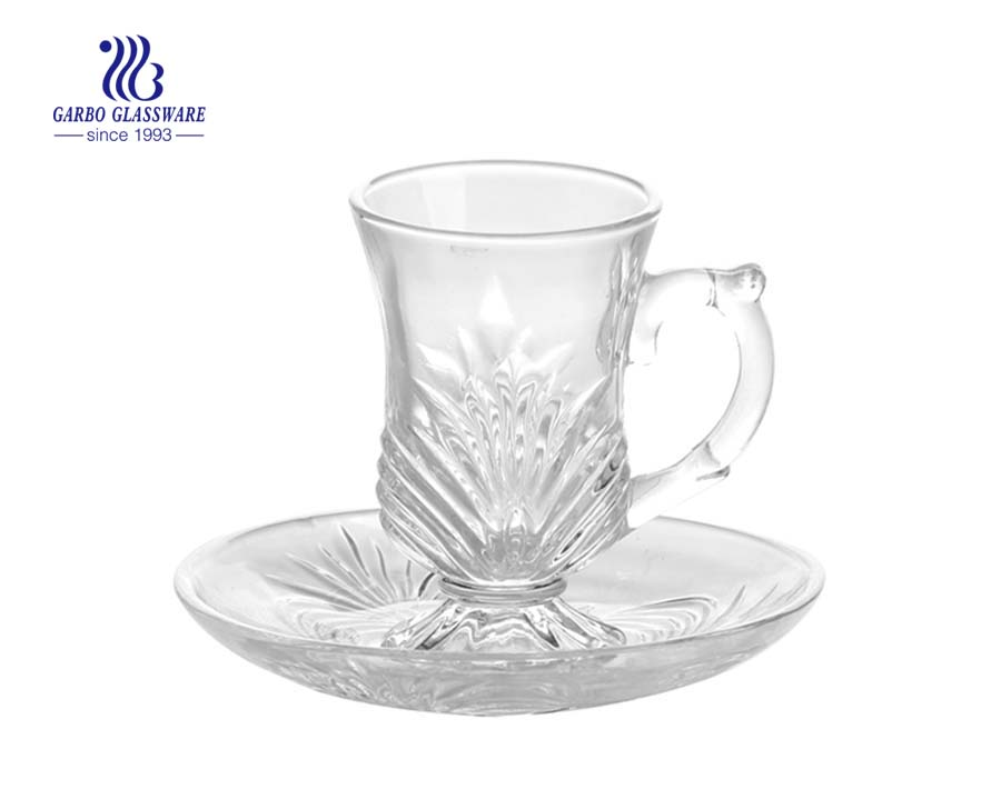 glass mug set with saucer for tea
