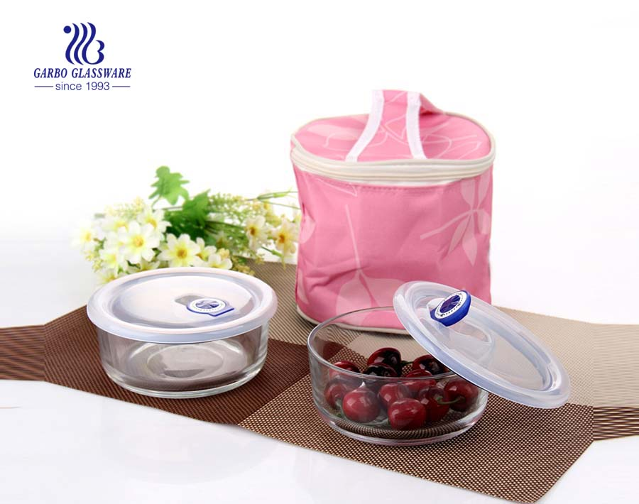 700ml 2pcs glass food containers set with pink package bag