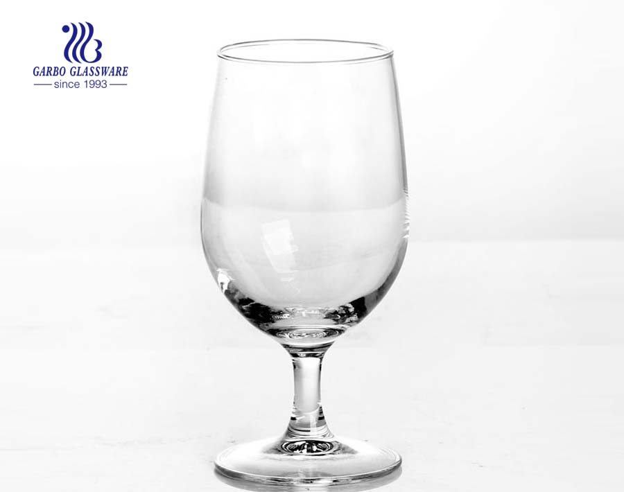 410ml glass goblet with stem good quality